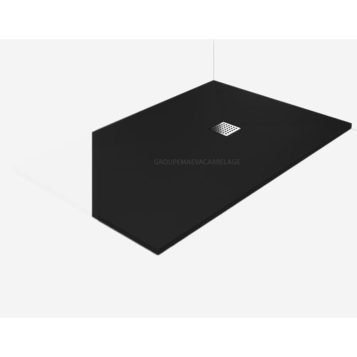 Receveur douche a l 39 italienne plat a bonde noir 80x130 for Prix receveur douche italienne