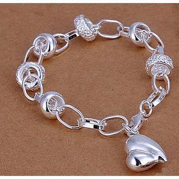 bracelet plaqu argent breloques coeur achat vente bracelet gourmette bracelet plaqu. Black Bedroom Furniture Sets. Home Design Ideas