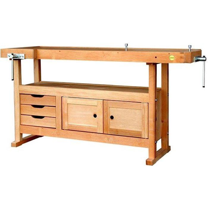 outifrance etabli bois de menuisier longueur 1 achat vente etabli meuble atelier cdiscount. Black Bedroom Furniture Sets. Home Design Ideas