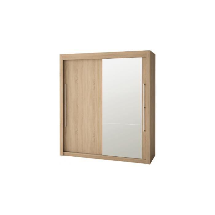 armoire ch ne clair 2 portes coulissantes dont 1 miroir l180 eole meuble style moderne. Black Bedroom Furniture Sets. Home Design Ideas