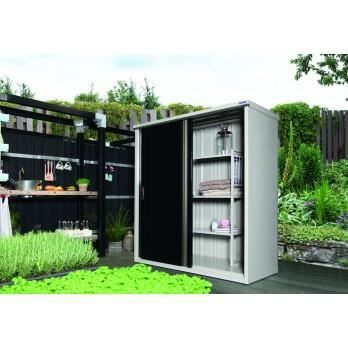 Armoire de rangement 177 jardin avec porte noir achat vente coffre d 39 ext rieur armoire de for Porte exterieur noir
