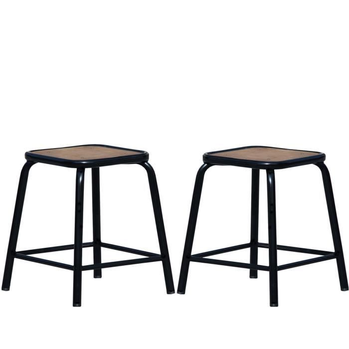 lot de 2 tabourets bas vintage maitresse couleu achat vente tabouret de bar m tal bois. Black Bedroom Furniture Sets. Home Design Ideas