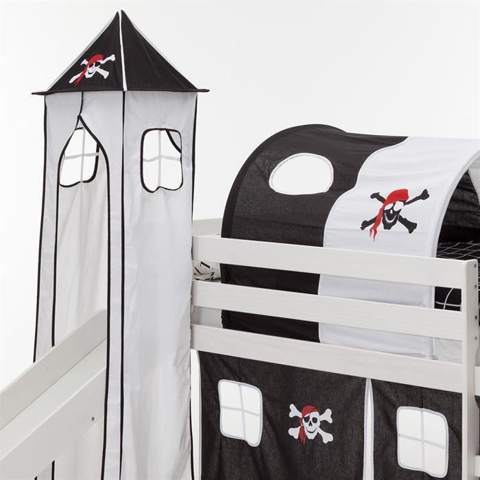 donjon tour tente pour lit sur lev avec toboggan coton motif pirate noir et blanc achat. Black Bedroom Furniture Sets. Home Design Ideas