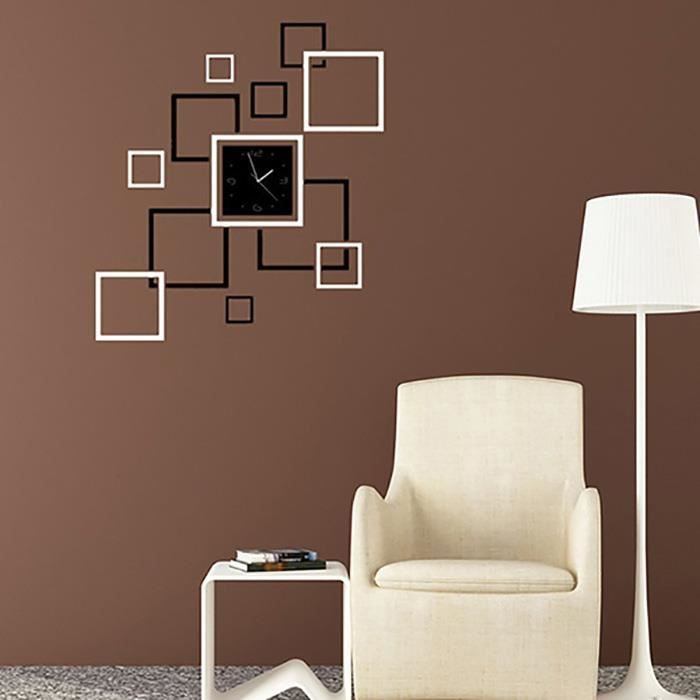 sticker muraux miroir carr jolie diy pour salon chambre achat vente stickers soldes d. Black Bedroom Furniture Sets. Home Design Ideas