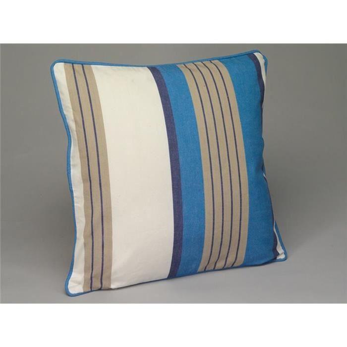 Simla housse de coussin 45 x 45 cm ray e bleu beige et for Housse de coussin de chaise