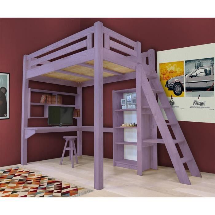 Lit mezzanine alpage bois chelle hauteur r glable teint violet pastel - Lit mezzanine 140x190 bois ...