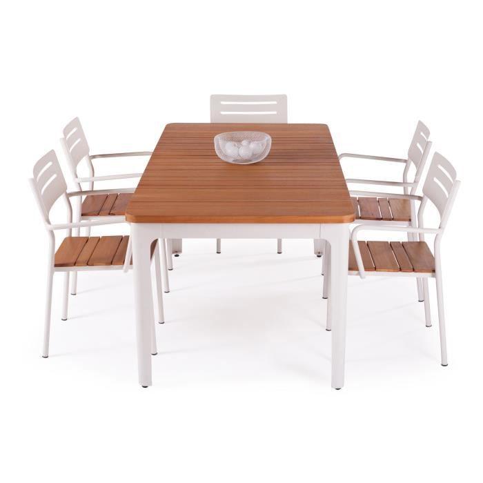 loana chaise de jardin avec accoudoirs alu et eucalyptus blanc achat ve. Black Bedroom Furniture Sets. Home Design Ideas