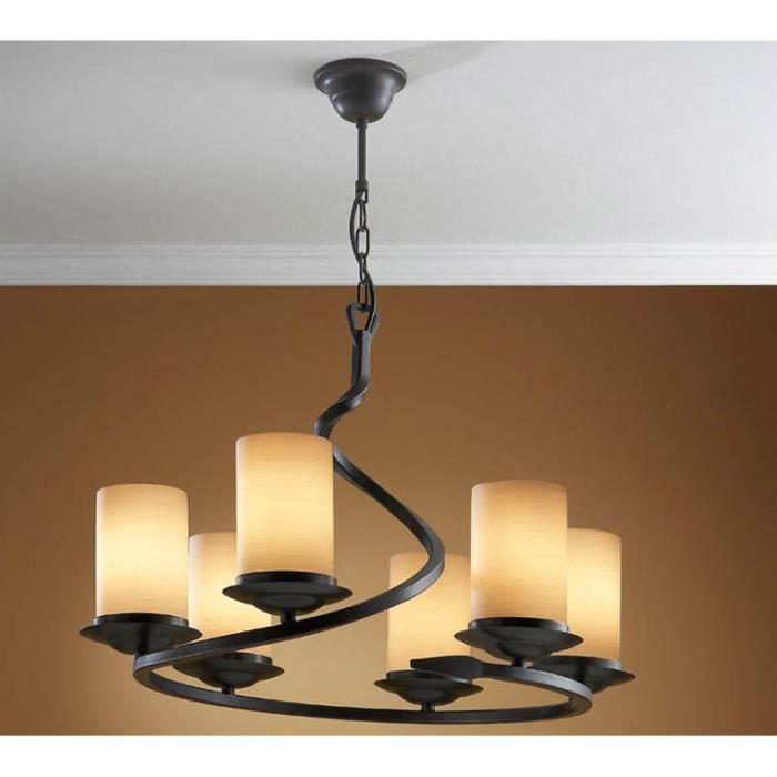 Lampe en fer forg mod le crisol 6 ampoules achat vente lampe en fer forg mod le - Lampe fer forge ...