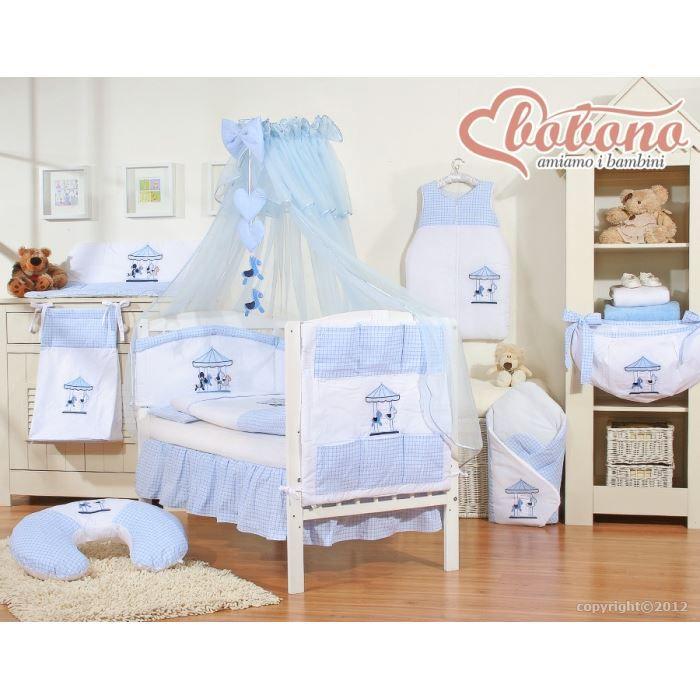 Parure de lit b b carrousel bleue avec ciel de achat for Parure lit bebe x