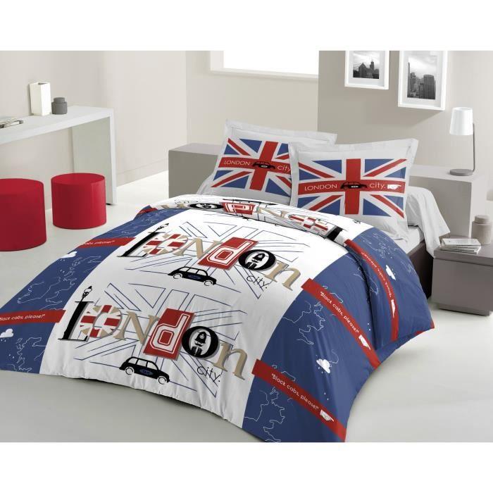 housse de couette london taxi 220x240cm bleu achat vente housse de couette soldes d t. Black Bedroom Furniture Sets. Home Design Ideas