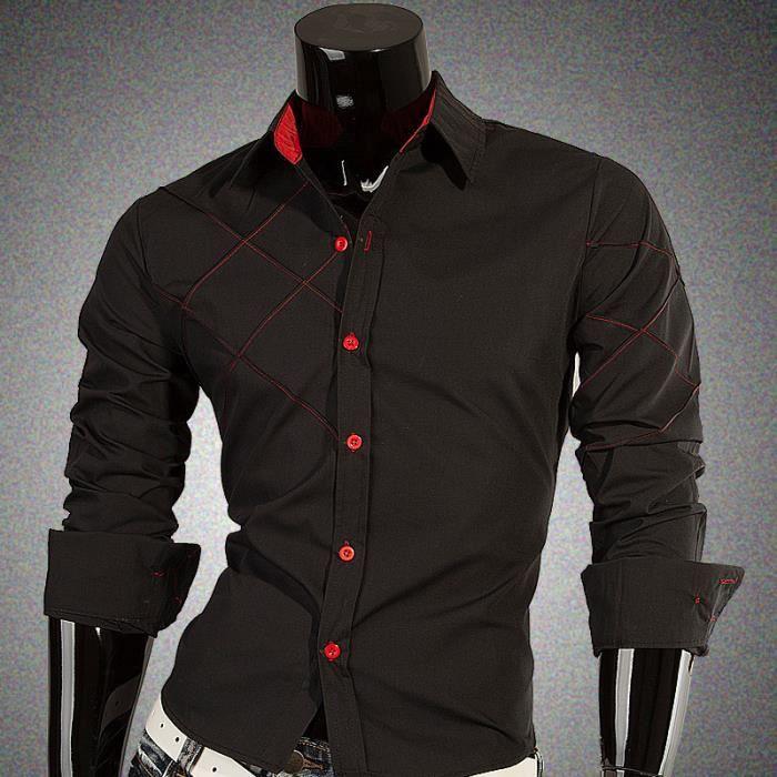 Chemise homme noir manches longues coupe droite noir achat vente chemise chemisette - Coupe longue homme ...