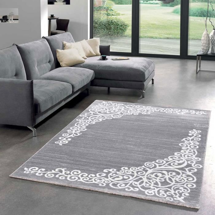 tapis salon new florida 1 gris 160x230 par unamourdetapis tapis moderne 160 x 230 cm gris. Black Bedroom Furniture Sets. Home Design Ideas