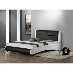 lit design blanc 140 x 190 avec sommier achat vente. Black Bedroom Furniture Sets. Home Design Ideas