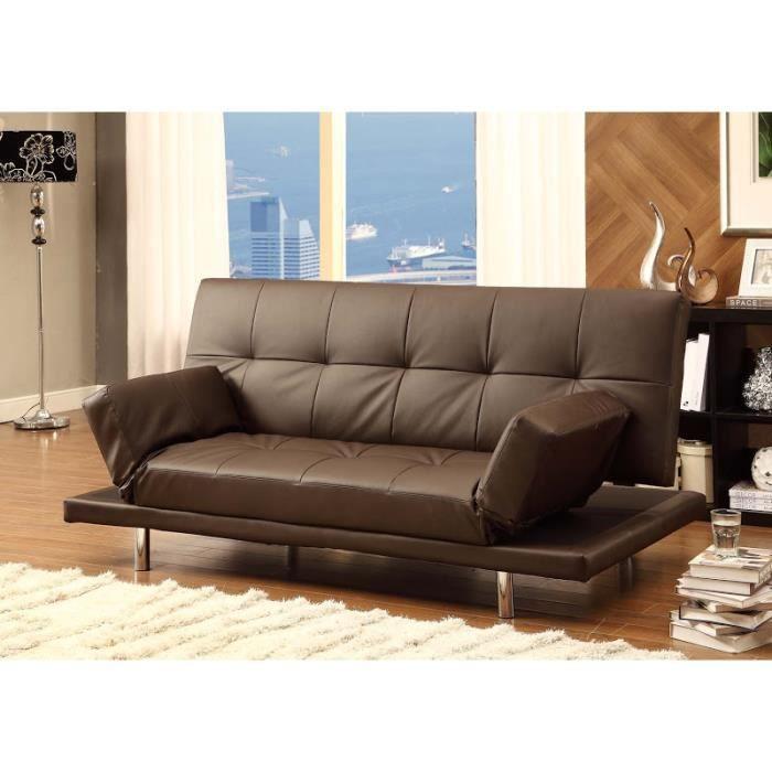 balkis canap 3 places convertible lit marron achat vente canap sofa divan pieds. Black Bedroom Furniture Sets. Home Design Ideas