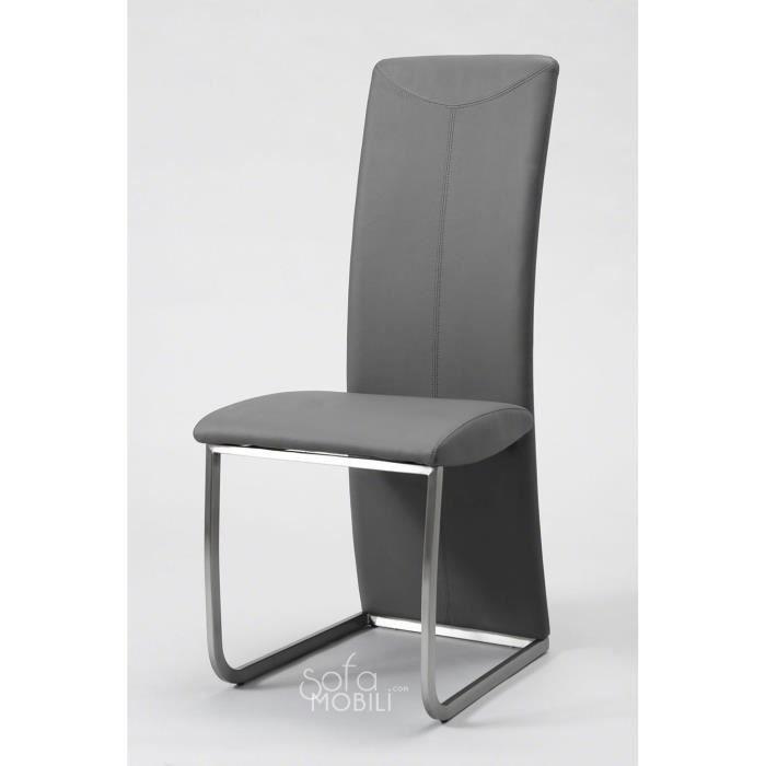 Chaise noir gris ou blanc m tal et pu valia gris achat for Chaise design gris et blanc