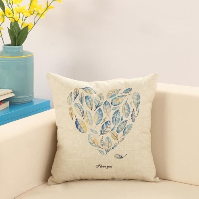 housses de coussin 45x45 cm motif d 39 feuilles achat. Black Bedroom Furniture Sets. Home Design Ideas