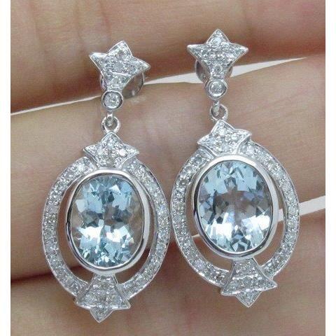 boucles d 39 oreilles diamant et aigue marine achat vente boucle d 39 oreille boucles d 39 oreilles. Black Bedroom Furniture Sets. Home Design Ideas