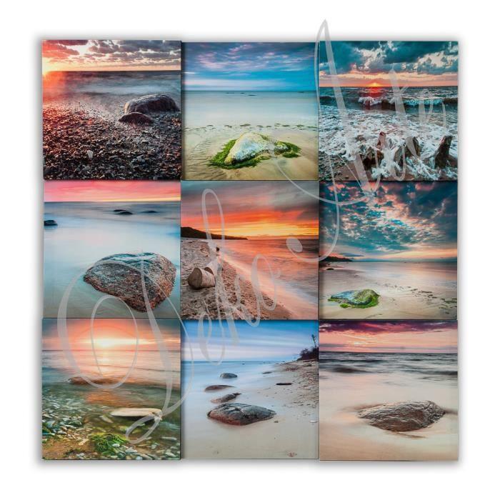 toile tableau cadre design moderne paysage de plage tableaux pret a accrocher 90x90 achat. Black Bedroom Furniture Sets. Home Design Ideas