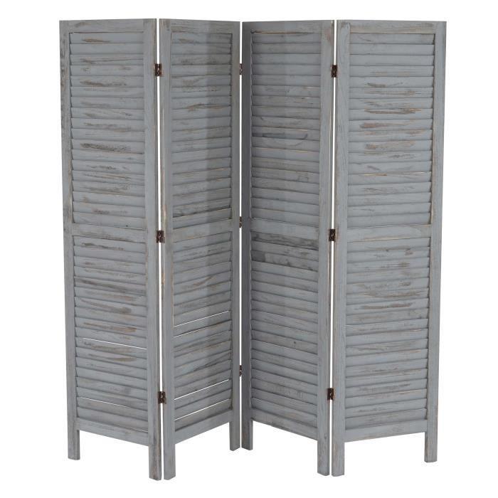 Paravent / séparation bois,4 pans,182x2x170cm, shabby, vintage, gris ...