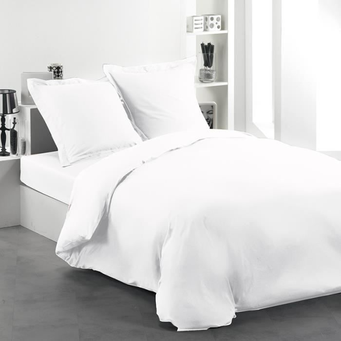 Housse de couette 240x220 intimity blanc achat vente for Housse de couette 240x220