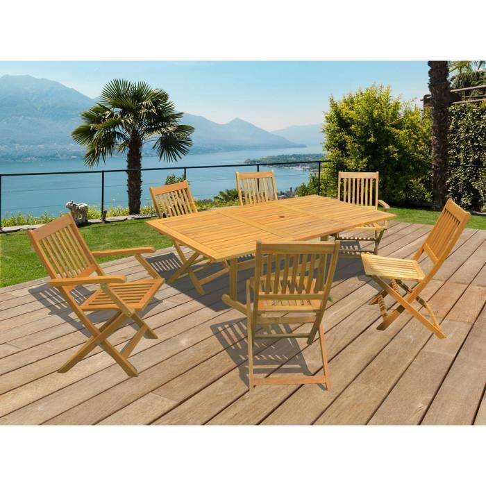 Salon de jardin en bois exotique osaka bali 1 table extensible 120 180cm 2 fauteuils 4 Salon de jardin bois cdiscount