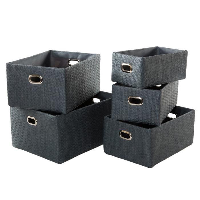 paniers de rangement en papier gris fonc x5 achat. Black Bedroom Furniture Sets. Home Design Ideas