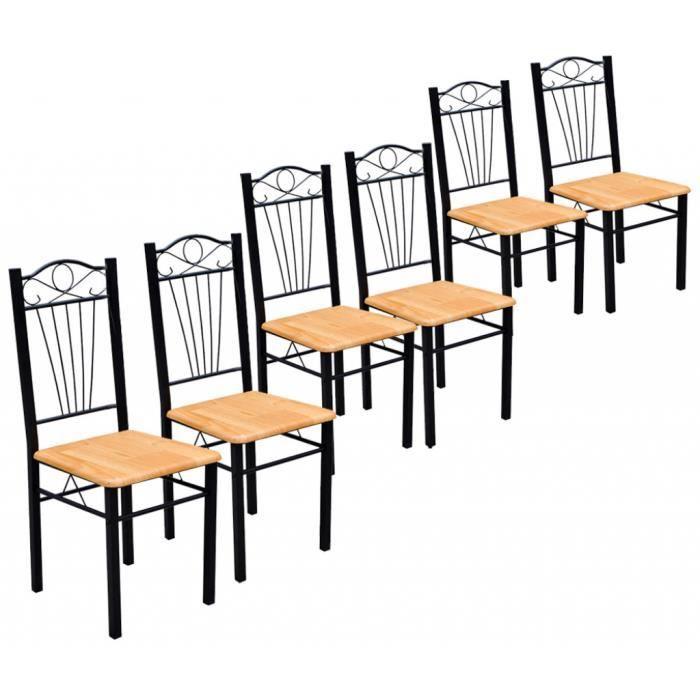Chaise bois naturel lot de 6 achat vente chaise bois - Chaise lot de 6 ...