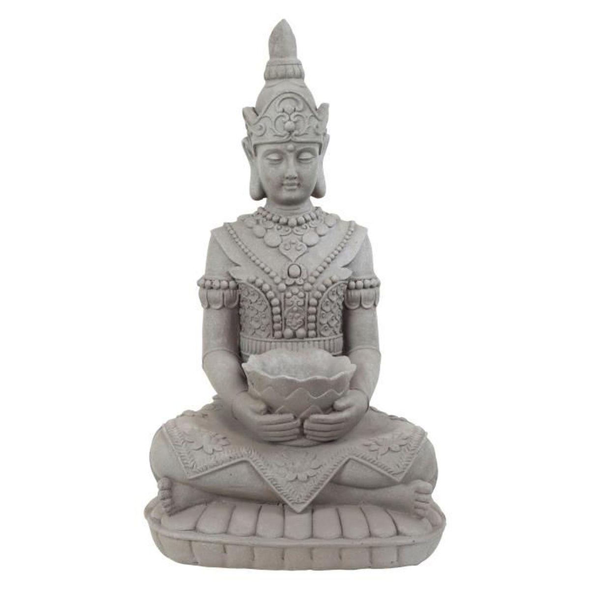 grande sculpture de bouddha 39 justice 39 en fibre d 39 argile aspect pierre 73cm achat vente. Black Bedroom Furniture Sets. Home Design Ideas