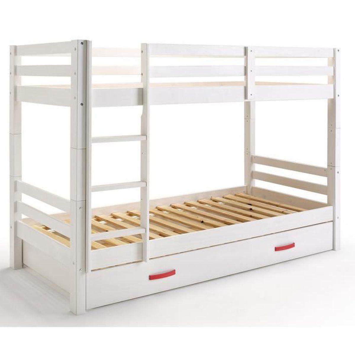 lit superpos 233 gigogne blanc et pour enfant avec 1 tiroir dim h 114 x l 211 x p 100 cm