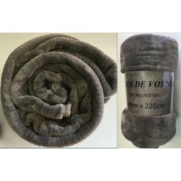 couverture grise fausse fourrure couvre lit xl plaid vison jet de lit taille 220x240cm. Black Bedroom Furniture Sets. Home Design Ideas
