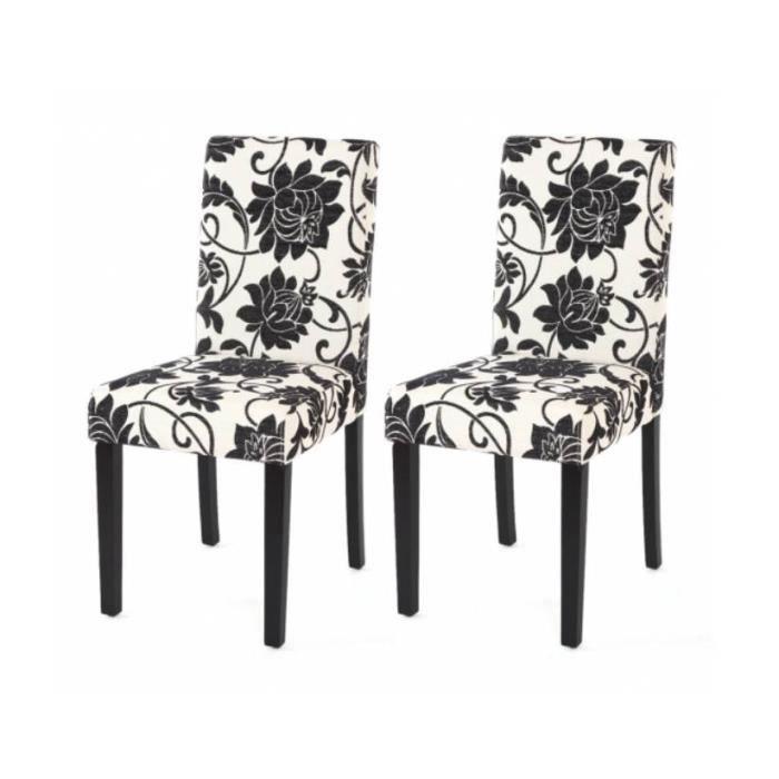 Chaise de salle manger lot de 2 flower tissu achat for Chaise tissu salle a manger
