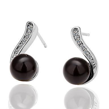 boucle d 39 oreilles avec perle noire et stass achat. Black Bedroom Furniture Sets. Home Design Ideas