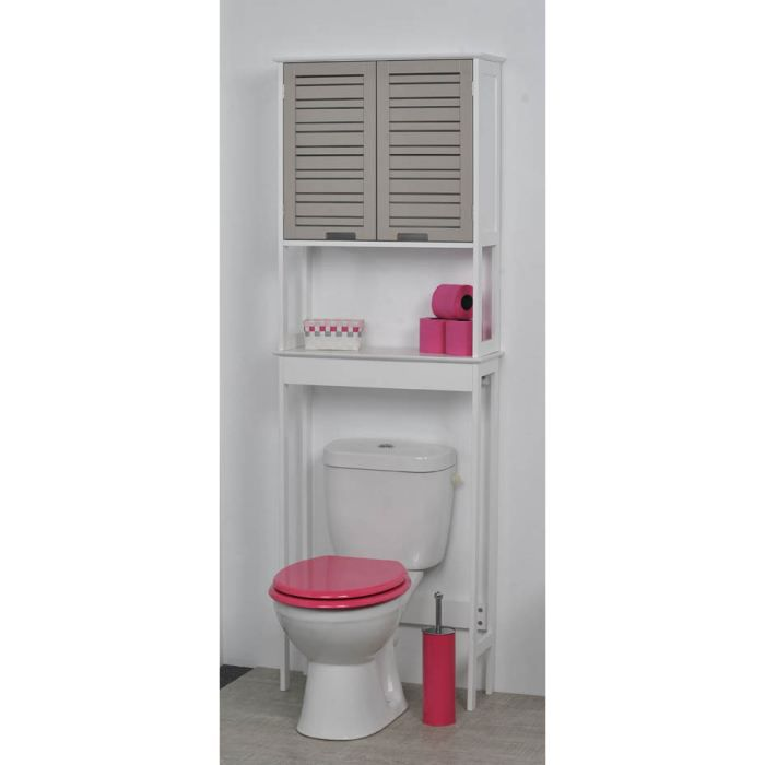 Meuble dessus wc miami taupe achat vente colonne for Meuble wc ikea