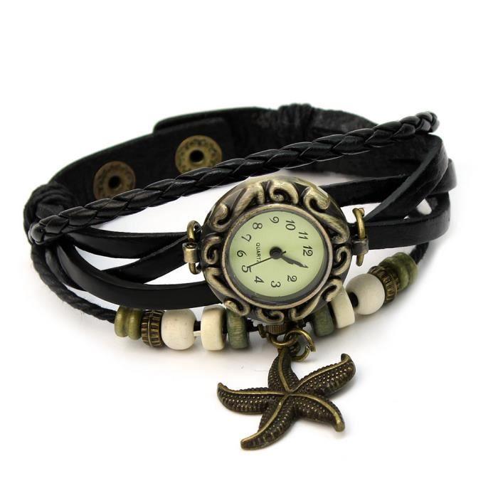 Mode femme montre bracelet en pu cuir quartz tress toile de mer starfish d cor achat vente for Montre decoration