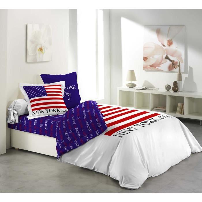 Parure de drap lit 2 pers 100 coton flag achat vente for Draps de lit