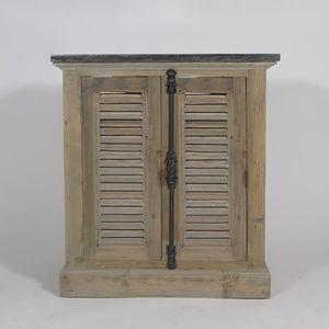 MEUBLE VASQUE - PLAN Meuble SDB 1 vasque clayette bois - Brut