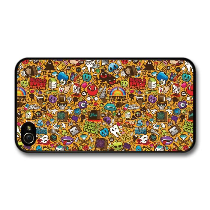 stickerbomb graffiti art cartoon orange background sticker bomb coque pour iphone 4 4s achat. Black Bedroom Furniture Sets. Home Design Ideas