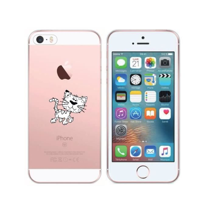 Ikasse coque iphone 5 5s 5se chat 24 72h achat for Housse iphone 5se