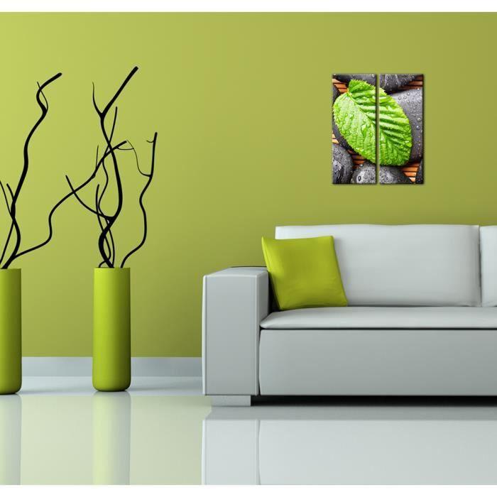 Bilderdepot24 toile sur ch ssis bois zen cailloux et for Achat cailloux decoration