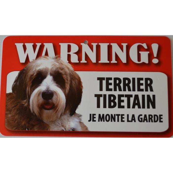 pancarte je monte la garde terrier tibetain achat vente plaque signal tique pancarte. Black Bedroom Furniture Sets. Home Design Ideas
