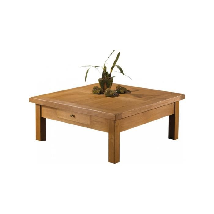 Table basse carr e ch ne massif cir 1 tiroir achat vente table basse tab - Table basse carree chene massif ...