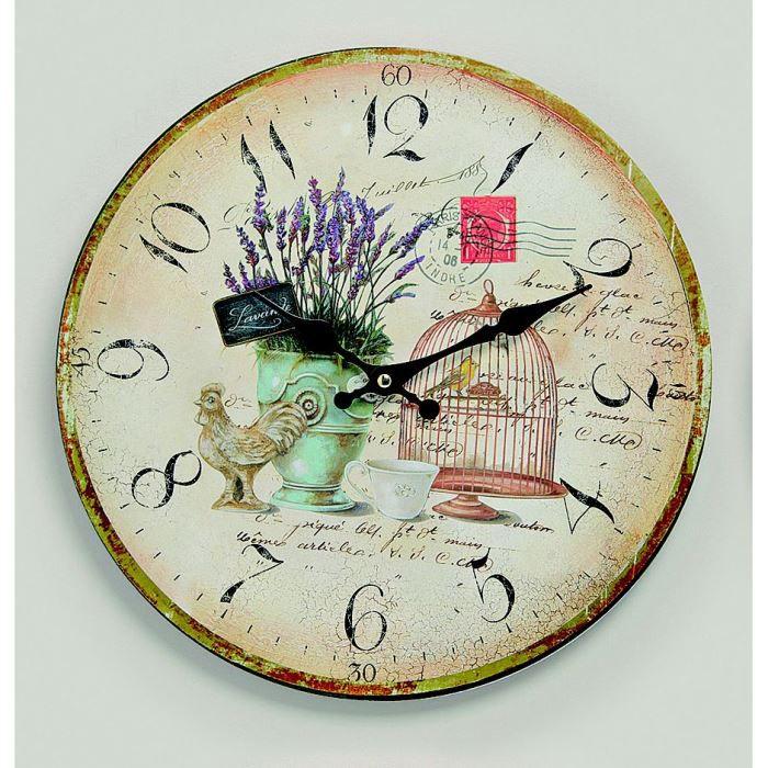Pendule murale lavande et oiseau achat vente horloge cdiscount - Achat pendule murale ...