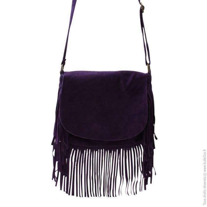 Petit Sac Bandoulière A Frange : Petit sac bandouli?re ? franges en daim violet achat