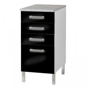 Paris prix meuble bas 4 tiroirs glossy noir achat for Meuble bas prix