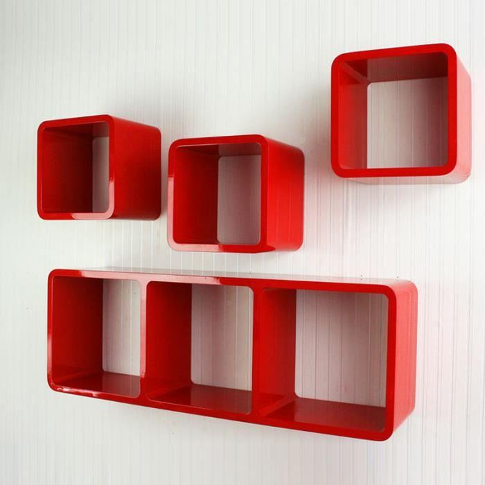 tag re cube murale carr de 4 pi ces rouge achat vente etag re murale tag re cube murale. Black Bedroom Furniture Sets. Home Design Ideas