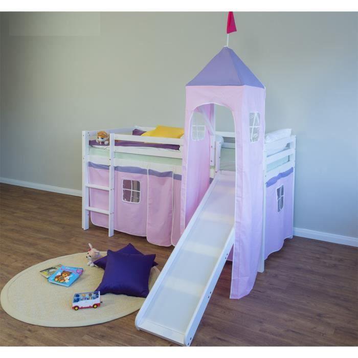 lit enfant superpos en pin massif avec toboggan tour et chelle et rideaux rose clair achat. Black Bedroom Furniture Sets. Home Design Ideas