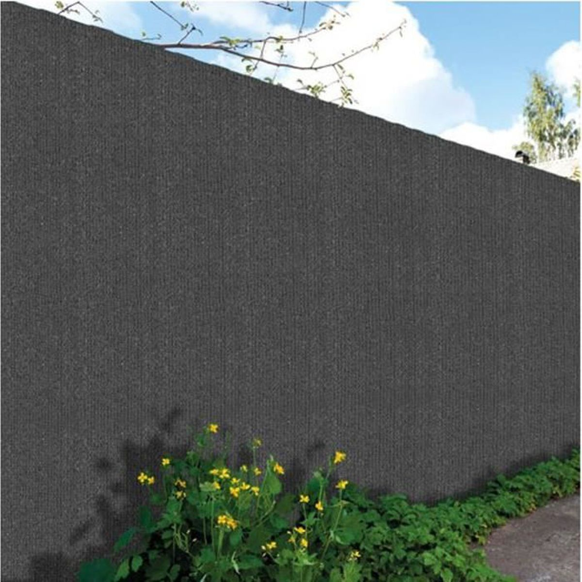 Brise vu en toile hdpe haute qualit 300gr occultant coloris gris anthracite 1 80mx25m for Cloture de jardin en toile