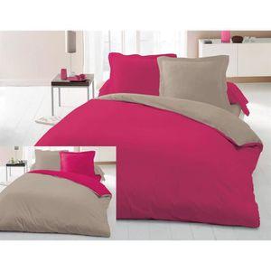 housse de couette bicolore 240x260 cm 2 taies polycoton 57 fils fuchsia taupe achat. Black Bedroom Furniture Sets. Home Design Ideas