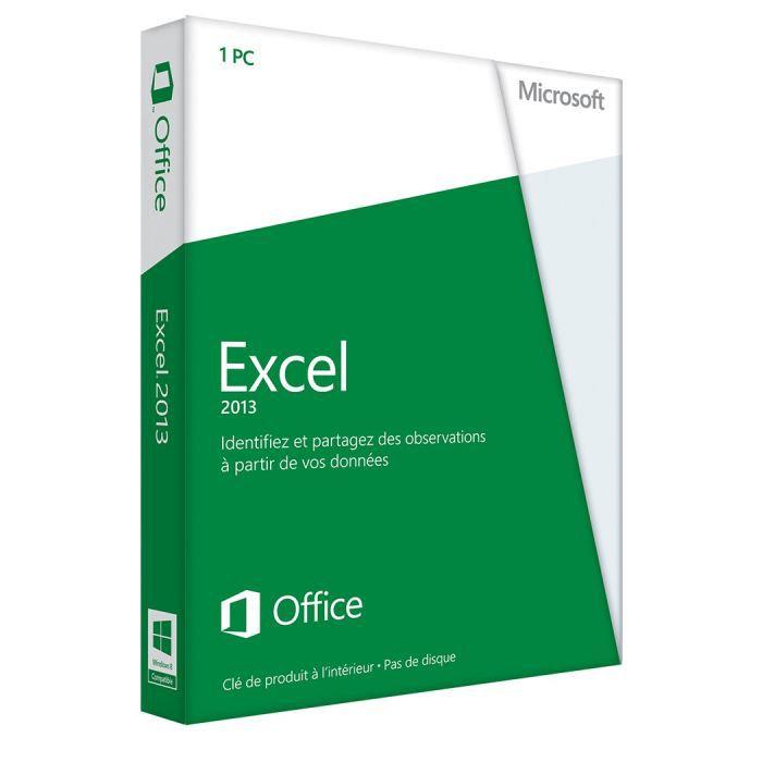 LOGICIEL BUREAUTIQUE  Microsoft Excel 2013 - 1 PC - Carte d'activation