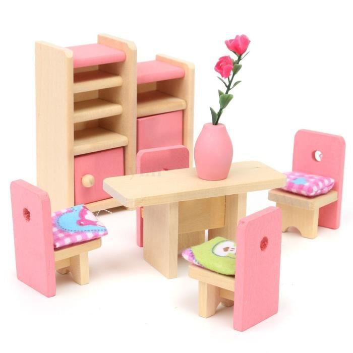 Ensemble de meubles de salle manger miniature en bois for Meubles salle a manger soldes